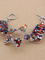 Fashion Woven Copper Glass Tube Bracelets Random Color