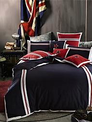 Duvet Cover Set European Style 4 Pcs 100% Cotton Bedding Set Blue Patchwork Technics King Queen Size