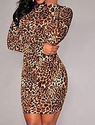 cuello alto vestido del club estampado de leopardo de las mujeres