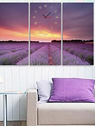 e-FOYER fleurs de lavande horloge dans 3pcs toile