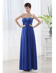 Floor-length Chiffon Bridesmaid Dress - Royal Blue A-line Sweetheart