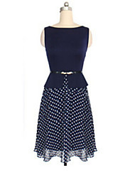 AOXCWomen's European Korean Waisted Dots Sleeveless Dress