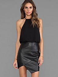 Women's Solid Black Dress , Sexy/Casual Strap Sleeveless