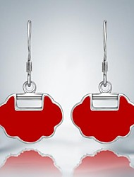 Fashion Red Lock Silver Plated Alloy Drop Earrings(1 Pair)