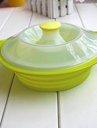 tazón unfoldable hornear con tapa para acampar al aire libre, material de alimentos seguros silicona, color al azar
