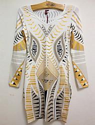 Robe Aux femmes Moulante Sexy / Vintage , Géométrique Col Arrondi Mi-long Elastique / Mélanges de Coton