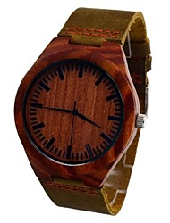 Men's Watch Pure RED Sandalwood Quartz Dress Watch Fashion Vogue Leisure Watch Cow Leather Band Cool Watch Unique Watch