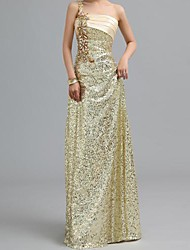 Formal Evening Dress - Gold Petite A-line One Shoulder Floor-length Chiffon