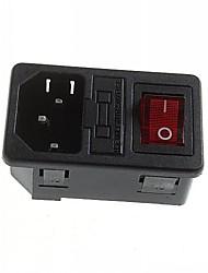 bricolage titulaire prise de courant de puissance 10a / 250v ac fusible de 3 broches avec indicateur