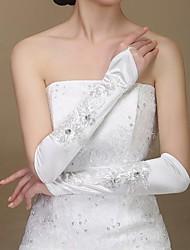 Elbow Length Fingerless Glove Elastic Satin Bridal Gloves