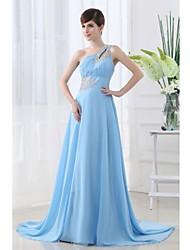 Formal Evening Dress - Pool Petite A-line One Shoulder Floor-length Chiffon