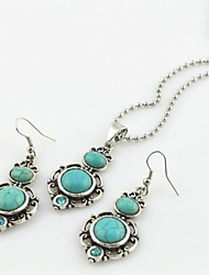 Toonykelly Vintage Antique Silver Turquoise Stone with Crystal(Earring and Necklace) Jewelry Set