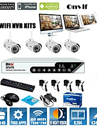 4CH 720P WIFI NVR KITS;WIFI IP CAMERA SUPPORT Reply to Factory Default Settings,With Bracket,ONVIF,P2P