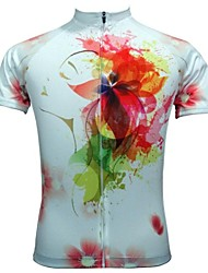 JESOCYCLING Cycling Tops / Jerseys Women's Bike Breathable / Quick Dry Short Sleeve Stretchy Polyester Floral / Botanical WhiteS / M / XL