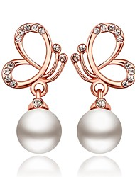 Classics Butterfly and Pearl-Drop Rose Gold Rose Gold-Plated Drop Earrings(Rose Gold)(1Pair)