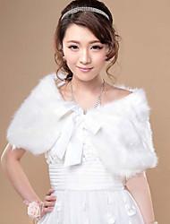 Fur Wraps / Wedding  Wraps Shrugs Faux Fur White / Beige Wedding / Party/Evening Sashes / Ribbons
