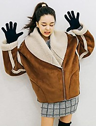 Women's Large Lapel Motorcycle Thick Padded Outerwear