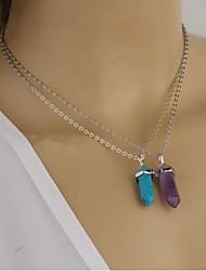 Europeus e americanos colar de pingente de pedra de cristal de vidro do diamante das mulheres (1pc)