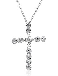 Cremation jewelry 925 Sterling Silver Cross with Zircon Pendant Necklace for Women