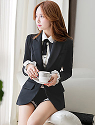 DABUWAWA Turn Down Collar Chiffon Suit/Coat(Black)
