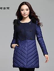 inverno lwqgl vendedor quente casaco de leopardo ombros decoração, moda longo splicing tecido de lã roupas de algodão acolchoado