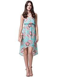 print floral oi-lo vestido de chiffon oxygene monde® das mulheres