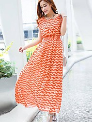 Women's Beach Swing Dress,Striped / Print Round Neck Maxi Sleeveless Black / Orange Spring / Summer / Fall