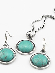Toonykelly Vintage Antique Silver Multicolor Turquoise Stone(Earring and Necklace) Jewelry Set