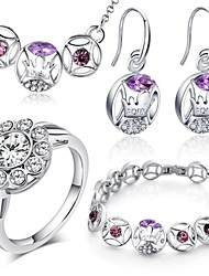 18 Karat Weißgold Beschichtung Halskette Ohrringe Armband Ringen