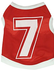 Cat Dog Shirt / T-Shirt Jersey Red Dog Clothes Summer Spring/Fall Letter & Number Sports