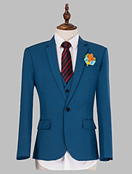 Suits Slim Fit Slim Notch Single Breasted One-button 3 Pieces Blue
