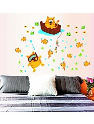 Wall Stickers Wall Decals, Style Super Adorable Rhubarb Cat Fishing PVC Wall Stickers