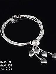 Stylish Sterling Silver Heart Dangle Women's Bracelet