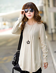 Fengzhe Women's Casual Solid Color Loose Fit Knitwear Blouse