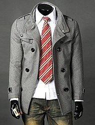 Men's Long Sleeve Regular Trench coat , Cotton/Polyester Pure