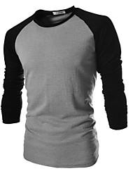 Tee-shirt Homme,Couleur Pleine Décontracté / Quotidien Grandes Tailles Manches Longues Coton