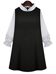 Women's Casual/Daily Plus Size / Cute Plus Size Dress,Color Block Stand Mini Long Sleeve Black Cotton Spring / Summer / Fall