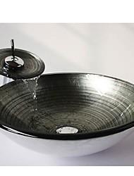 la spirale ronde en argent trempé évier récipient en verre avec robinet cascade, pop - up vidange et bague de montage