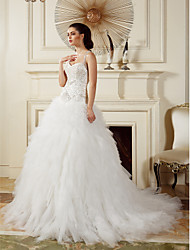 LAN TING BRIDE Ball Gown Wedding Dress Vintage Inspired Court Train Straps Tulle with Appliques Beading Cascading Ruffle