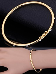 Fancy Cute Simple Bangle 18K Real Gold Platinum Plated Rhinestone Bracelet Bangle for Women High Quality