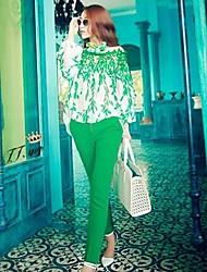 coco zhang tout de costume de couleur dentelle match de contraste (blouse&pantalon)