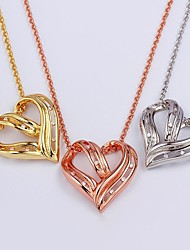 Three color Heart Unisex Vintage/Party/Casual Alloy/Cubic Zirconia/Platinum Plated/Rose Gold Plated Fashion Pendants