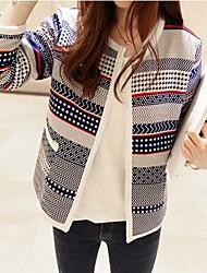 Peach John Women's Long Sleeve Slim Fashion Round Collar Stripe Knitting Cardigan
