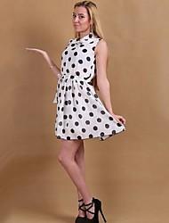 Women's Polka Dot White/Black Dress , Casual Cowl Sleeveless