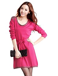 Women's Casual/Daily Loose Dress,Solid U Neck Above Knee Long Sleeve Pink / Purple Spring / Fall