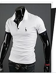 cor sólida camisa dos homens romeo t de manga curta