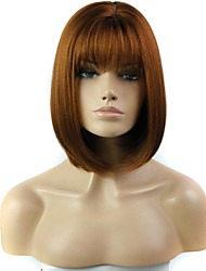 Capless Short Straight Heat Resistant Synthetic Wig with Full Bang
