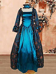 Long Sleeve Floor-length Ink Blue Cotton Gothic Lolita Dress