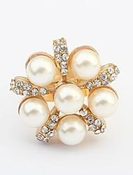 Women's Cute Pearls Rhinestone Beaded Exquisite Statement Ring
