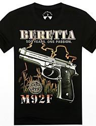 o-cou motif des armes à feu d'été les 3d t-shirt à manches courtes imprimés des hommes